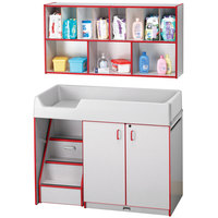 Rainbow Accents 5140JC008 48 1/2 inch x 23 1/2 inch x 38 1/2 inch Red TRUEdge Freckled-Gray Left-Sided Diaper Changing Station with Stairs and Mounted Organizer