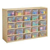 Young Time 7141YT 48 inch x 15 inch x 32 1/2 inch Natural 25-Cubbie Storage Unit with Clear Bins