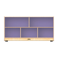Jonti-Craft Baltic Birch 0324JC518 48 inch x 15 inch x 24 1/2 inch Toddler-Height Mobile 5-Section Wood Storage Cabinet with Lilac Back Panels