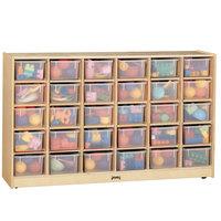 Jonti-Craft Baltic Birch 04310JC 57 1/2 inch x 15 inch x 35 1/2 inch Mobile 30-Cubbie Wood Storage Cabinet with Clear Trays