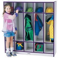 Rainbow Accents 2681JCWW004 48 inch x 15 inch x 50 1/2 inch 5-Section Purple TRUEdge Freckled-Gray Laminate Coat Locker