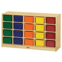 Jonti-Craft Baltic Birch 0421JC 48 inch x 15 inch x 29 1/2 inch Mobile 20-Cubbie Wood Storage Cabinet with Colored Trays