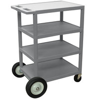 Luxor BCB45-G Gray 4 Shelf Serving Cart with Rear Big Wheels - 18 inch x 24 inch x 39 inch