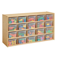 Young Time 7041YT 48 inch x 15 inch x 26 1/2 inch Natural 20-Cubbie Storage Unit with Clear Trays