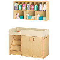 Jonti-Craft Baltic Birch 5140JC Combo Wood Toddler Changing Cabinet / Wall-Mount Shelf Organizer with 11 Plastic Cubbie Trays, Paper Roll Dispenser, and Changing Pad - Left Side Stairs