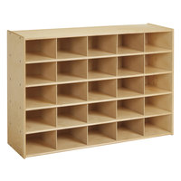 Young Time 7140YT 48 inch x 15 inch x 32 1/2 inch Natural 25-Cubbie Storage Unit
