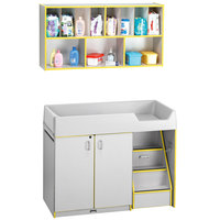 Rainbow Accents 5142JC007 48 1/2 inch x 23 1/2 inch x 38 1/2 inch Yellow TRUEdge Freckled-Gray Right-Sided Diaper Changing Station with Stairs and Mounted Organizer