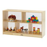 Jonti-Craft Baltic Birch 0392JC 48 inch x 15 inch x 29 1/2 inch Low Mobile 5-Section Wood Storage Cabinet