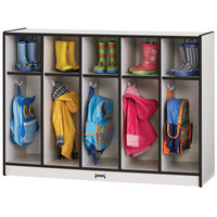 Rainbow Accents 2684JCWW180 48 inch x 15 inch x 35 inch Toddler-Height 5-Section Black TRUEdge Freckled-Gray Laminate Coat Locker