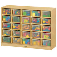 Jonti-Craft Baltic Birch 04260JC 48 inch x 15 inch x 35 1/2 inch Mobile 25-Cubbie Wood Storage Cabinet with Clear Trays