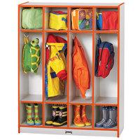 Rainbow Accents 0268JCWW114 39 inch x 15 inch x 50 1/2 inch 4-Section Orange TRUEdge Freckled-Gray Laminate Coat Locker