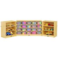 Jonti-Craft Baltic Birch 0322JC Fold-n-Lock 96 inch x 15 inch x 29 1/2 inch Mobile 26-Section Wood Storage Cabinet