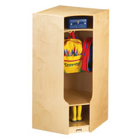 Jonti-Craft Baltic Birch 6686JC 24 inch x 24 inch x 50 1/2 inch Corner Coat Locker with Step
