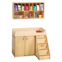 Jonti-Craft Baltic Birch 5142JC Combo Wood Diaper Changing Cabinet / Wall-Mount Shelf Organizer with 11 Plastic Cubbie Trays, Paper Roll Dispenser, and Changing Pad - Right Side Stairs