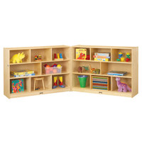 Jonti-Craft Baltic Birch 0369JC Fold-n-Lock 96 inch x 15 inch x 35 1/2 inch Super-Sized Mobile 16-Cubbie Wood Storage Cabinet