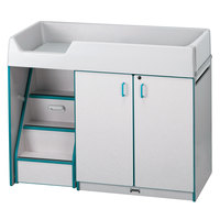 Rainbow Accents 5145JC005 48 1/2 inch x 23 1/2 inch x 38 1/2 inch Teal TRUEdge Freckled-Gray Left-Sided Diaper Changing Station with Stairs