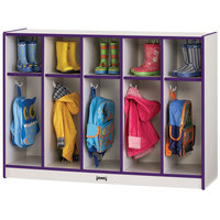 Rainbow Accents 2684JCWW004 48 inch x 15 inch x 35 inch Toddler-Height 5-Section Purple TRUEdge Freckled-Gray Laminate Coat Locker