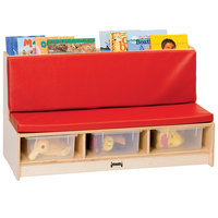 Jonti-Craft Baltic Birch 37480JC 42 inch x 18 1/2 inch x 23 1/2 inch Wood Literacy Room Couch with Padded Red Seating and Clear Tubs