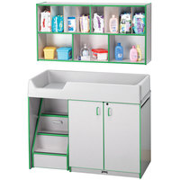 Rainbow Accents 5140JC119 48 1/2 inch x 23 1/2 inch x 38 1/2 inch Green TRUEdge Freckled-Gray Left-Sided Diaper Changing Station with Stairs and Mounted Organizer