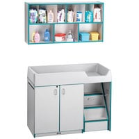 Rainbow Accents 5142JC005 48 1/2 inch x 23 1/2 inch x 38 1/2 inch Teal TRUEdge Freckled-Gray Right-Sided Diaper Changing Station with Stairs and Mounted Organizer