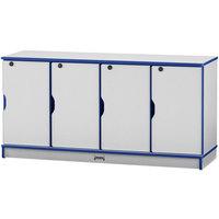 Rainbow Accents 4688JC003 48 1/2 inch x 15 inch x 24 inch Locking 4-Section Blue TRUEdge Freckled-Gray Single Stack Laminate Locker