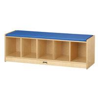 Jonti-Craft Baltic Birch 9093JC 48 inch x 15 inch x 16 inch 5-Section Bench Locker with Blue Cushion