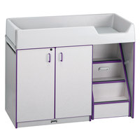 Rainbow Accents 5148JC004 48 1/2 inch x 23 1/2 inch x 38 1/2 inch Purple TRUEdge Freckled-Gray Right-Sided Diaper Changing Station with Stairs