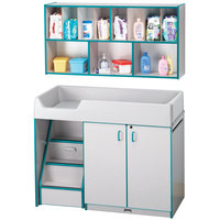 Rainbow Accents 5140JC005 48 1/2 inch x 23 1/2 inch x 38 1/2 inch Teal TRUEdge Freckled-Gray Left-Sided Diaper Changing Station with Stairs and Mounted Organizer