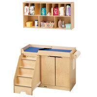 Jonti-Craft Baltic Birch 5135JC Combo Wood Toddler Changing Cabinet / Wall-Mount Shelf Organizer - Left Side Stairs