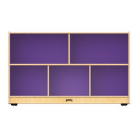 Jonti-Craft Baltic Birch 0392JC517 48 inch x 15 inch x 29 1/2 inch Low Mobile 5-Section Wood Storage Cabinet with Purple Back Panels