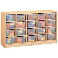 Jonti-Craft Baltic Birch 04210JC 48 inch x 15 inch x 29 1/2 inch Mobile 20-Cubbie Wood Storage Cabinet with Clear Trays