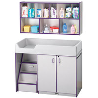 Rainbow Accents 5140JC004 48 1/2 inch x 23 1/2 inch x 38 1/2 inch Purple TRUEdge Freckled-Gray Left-Sided Diaper Changing Station with Stairs and Mounted Organizer
