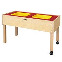 Jonti-Craft Baltic Birch 0485JC 41 1/2 inch x 20 1/2 inch x 24 inch Mobile 2-Tub Wood Sensory Table