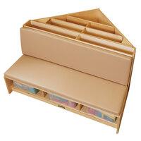 Jonti-Craft Baltic Birch 53440JC 42 inch x 39 1/2 inch x 23 1/2 inch Wheat Cushion Wood Corner Literacy Nook with Book Display, Storage, and 3 Clear Plastic Tubs