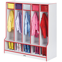 Rainbow Accents 0468JCWW008 48 inch x 17 1/2 inch x 50 1/2 inch 5-Section Red TRUEdge Freckled-Gray Laminate Coat Locker with Step