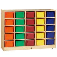 Jonti-Craft Baltic Birch 0426JC 48 inch x 15 inch x 35 1/2 inch Mobile 25-Cubbie Wood Storage Cabinet with Colored Trays