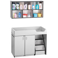 Rainbow Accents 5142JC180 48 1/2 inch x 23 1/2 inch x 38 1/2 inch Black TRUEdge Freckled-Gray Right-Sided Diaper Changing Station with Stairs and Mounted Organizer