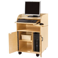 Jonti-Craft Baltic Birch 1084JC 24 inch x 25 1/2 inch x 39 inch Deluxe Mobile Wood Technology / Computer Stand with Keyboard Tray