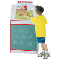 Rainbow Accents 0542JCWW008 24 1/2 inch x 15 inch x 30 inch Red TRUEdge Freckled-Gray Big Book Easel with Chalkboard