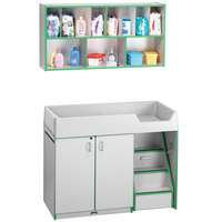 Rainbow Accents 5142JC119 48 1/2 inch x 23 1/2 inch x 38 1/2 inch Green TRUEdge Freckled-Gray Right-Sided Diaper Changing Station with Stairs and Mounted Organizer