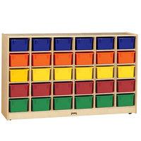 Jonti-Craft Baltic Birch 0431JC 57 1/2 inch x 15 inch x 35 1/2 inch Mobile 30-Cubbie Wood Storage Cabinet with Colored Trays