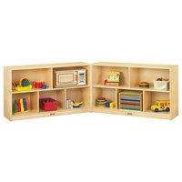 Jonti-Craft Baltic Birch 0292JC Fold-n-Lock 96 inch x 15 inch x 29 1/2 inch Low Mobile 10-Cubbie Wood Storage Cabinet