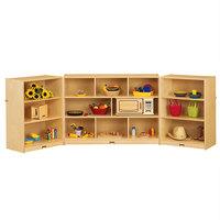 Jonti-Craft Baltic Birch 0366JC Fold-n-Lock 96 inch x 15 inch x 35 1/2 inch Maxi Mobile 14-Section Wood Triple Storage Cabinet