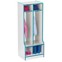 Rainbow Accents 4682JCWW005 20 inch x 17 1/2 inch x 50 1/2 inch 2-Section Teal TRUEdge Freckled-Gray Laminate Coat Locker with Step