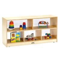 Jonti-Craft Baltic Birch 0324JCPL 48 inch x 15 inch x 24 1/2 inch Toddler-Height Mobile 5-Section Wood Storage Cabinet with Acrylic See-Thru Back