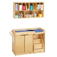 Jonti-Craft Baltic Birch 5143JC Combo Wood Toddler Changing Cabinet / Wall-Mount Shelf Organizer - Right Side Stairs