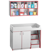 Rainbow Accents 5142JC008 48 1/2 inch x 23 1/2 inch x 38 1/2 inch Red TRUEdge Freckled-Gray Right-Sided Diaper Changing Station with Stairs and Mounted Organizer