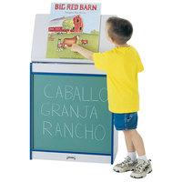 Rainbow Accents 0542JCWW003 24 1/2 inch x 15 inch x 30 inch Blue TRUEdge Freckled-Gray Big Book Easel with Chalkboard