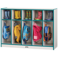 Rainbow Accents 2684JCWW005 48 inch x 15 inch x 35 inch Toddler-Height 5-Section Teal TRUEdge Freckled-Gray Laminate Coat Locker