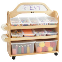 Jonti-Craft Baltic Birch 3522JC 46 1/2 inch x 20 inch x 51 1/2 inch 3-Shelf STEAM Mobile Wood Multimedia Supply Cart with Write-n-Wipe Sign and 2 End-Mount Roll Dispensers